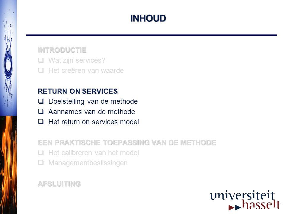 INHOUD INTRODUCTIE  Wat zijn services?  Het creëren van waarde RETURN ON SERVICES  Doelstelling van de methode  Aannames van de methode  Het retu