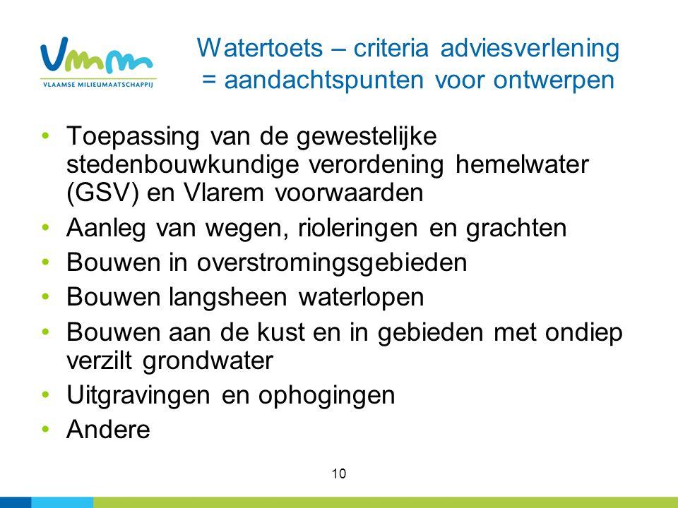 10 Watertoets – criteria adviesverlening = aandachtspunten voor ontwerpen Toepassing van de gewestelijke stedenbouwkundige verordening hemelwater (GSV