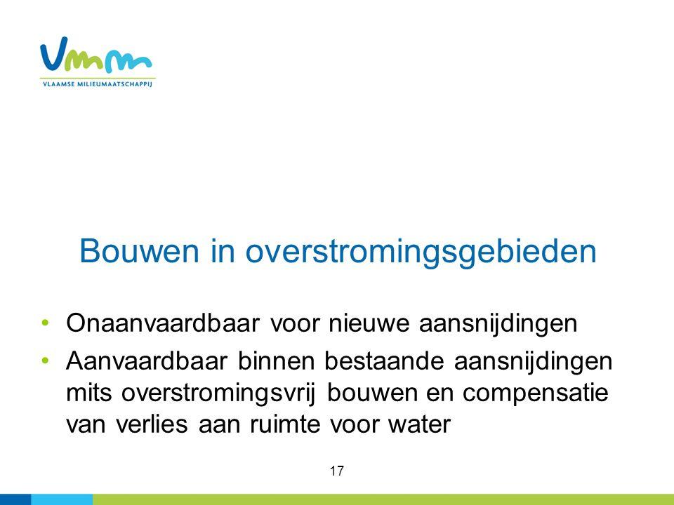 17 Bouwen in overstromingsgebieden Onaanvaardbaar voor nieuwe aansnijdingen Aanvaardbaar binnen bestaande aansnijdingen mits overstromingsvrij bouwen