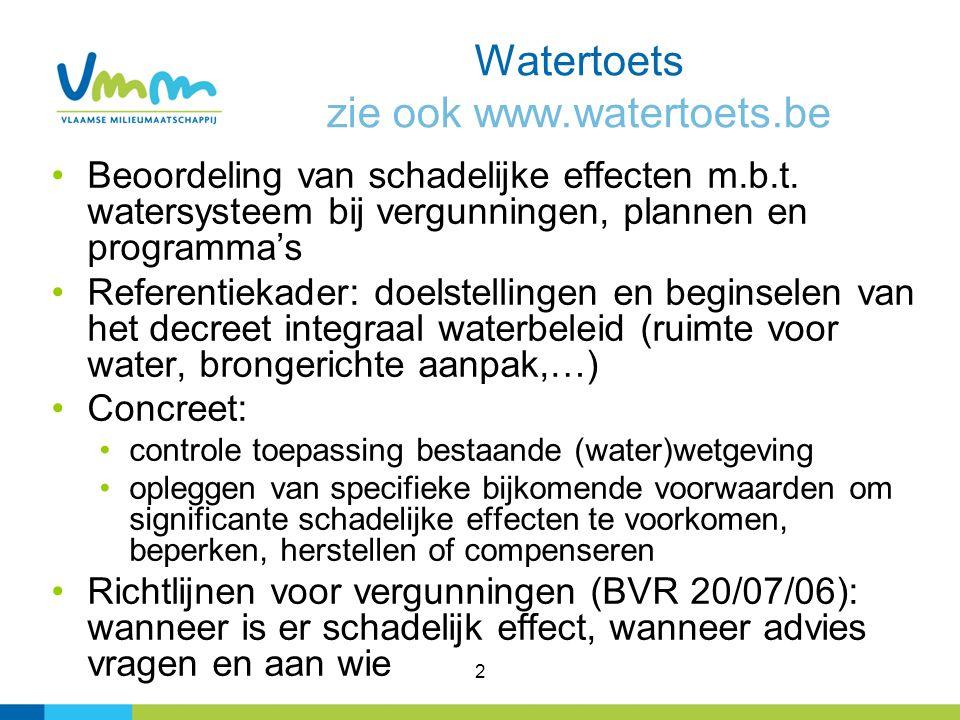 2 Watertoets zie ook www.watertoets.be Beoordeling van schadelijke effecten m.b.t. watersysteem bij vergunningen, plannen en programma's Referentiekad