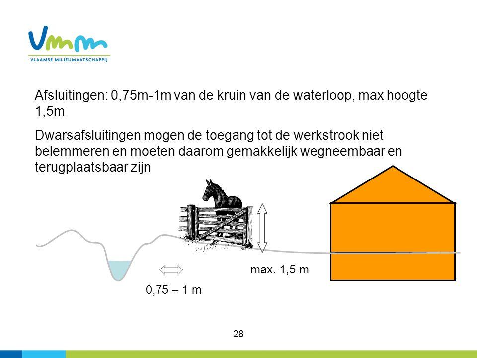 28 0,75 – 1 m Afsluitingen: 0,75m-1m van de kruin van de waterloop, max hoogte 1,5m Dwarsafsluitingen mogen de toegang tot de werkstrook niet belemmer