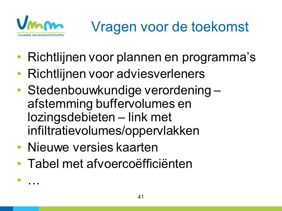 41 Vragen voor de toekomst Richtlijnen voor plannen en programma's Richtlijnen voor adviesverleners Stedenbouwkundige verordening – afstemming bufferv
