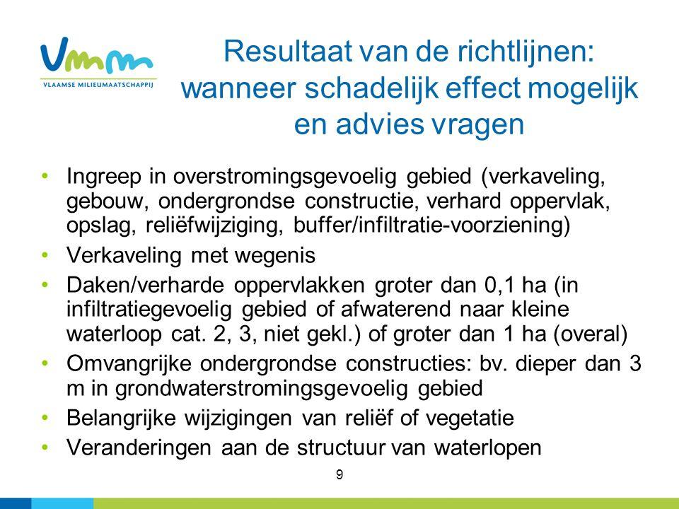 9 Resultaat van de richtlijnen: wanneer schadelijk effect mogelijk en advies vragen Ingreep in overstromingsgevoelig gebied (verkaveling, gebouw, onde