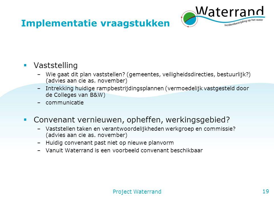 Project Waterrand 19 Implementatie vraagstukken  Vaststelling –Wie gaat dit plan vaststellen.