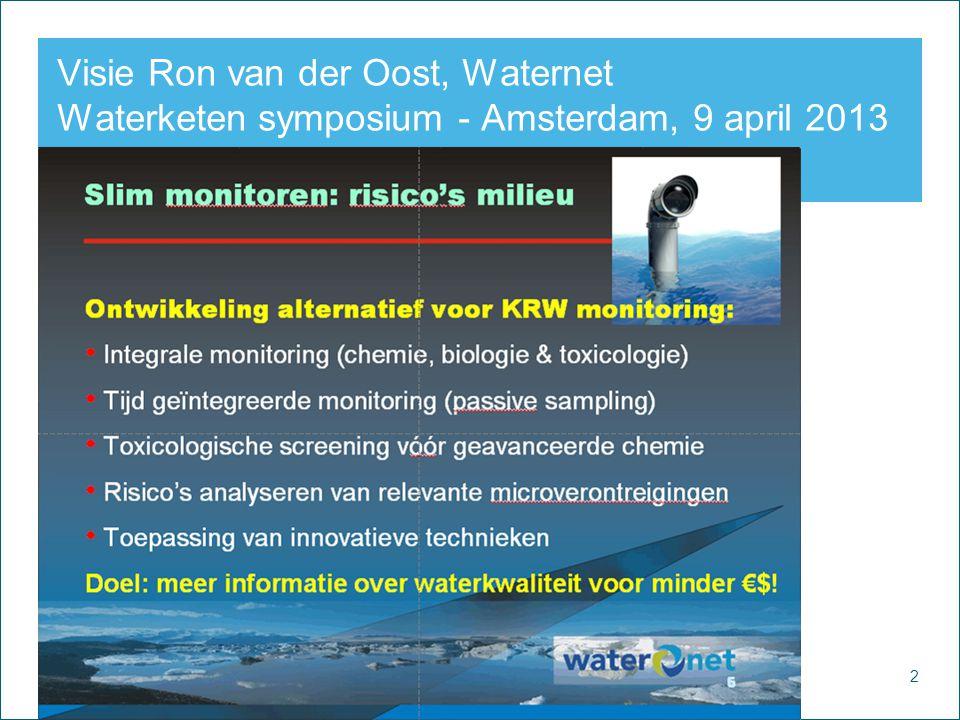 2 Watercycle Research Institute Visie Ron van der Oost, Waternet Waterketen symposium - Amsterdam, 9 april 2013