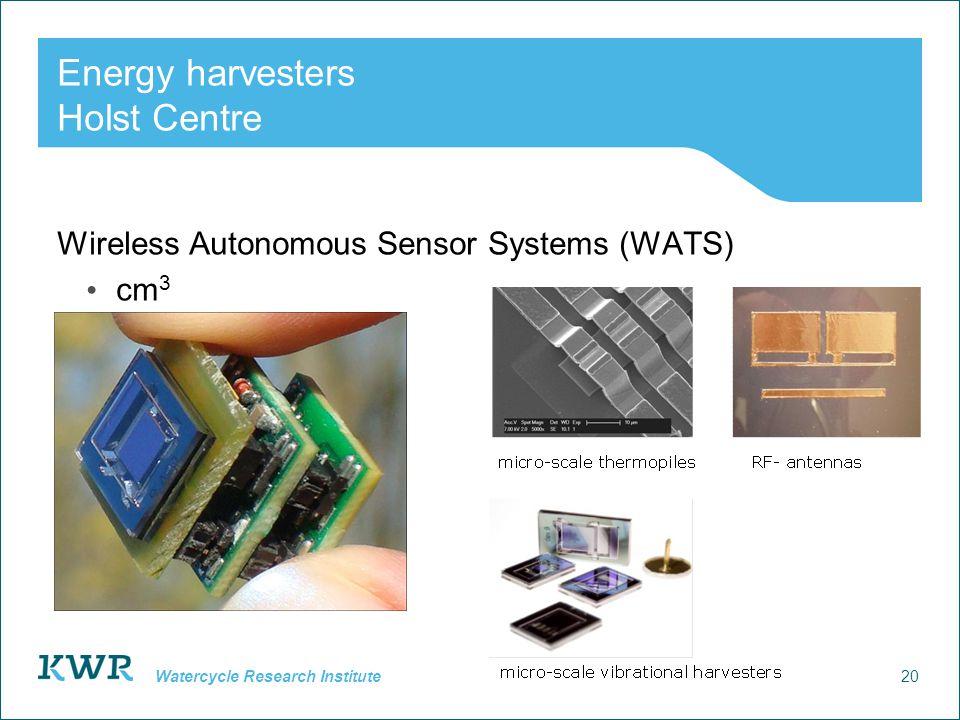20 Watercycle Research Institute Energy harvesters Holst Centre Wireless Autonomous Sensor Systems (WATS) cm 3