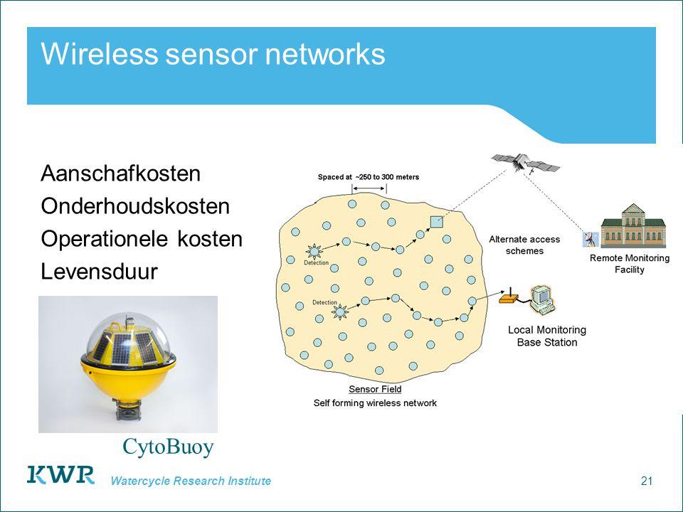 21 Watercycle Research Institute Wireless sensor networks Aanschafkosten Onderhoudskosten Operationele kosten Levensduur CytoBuoy