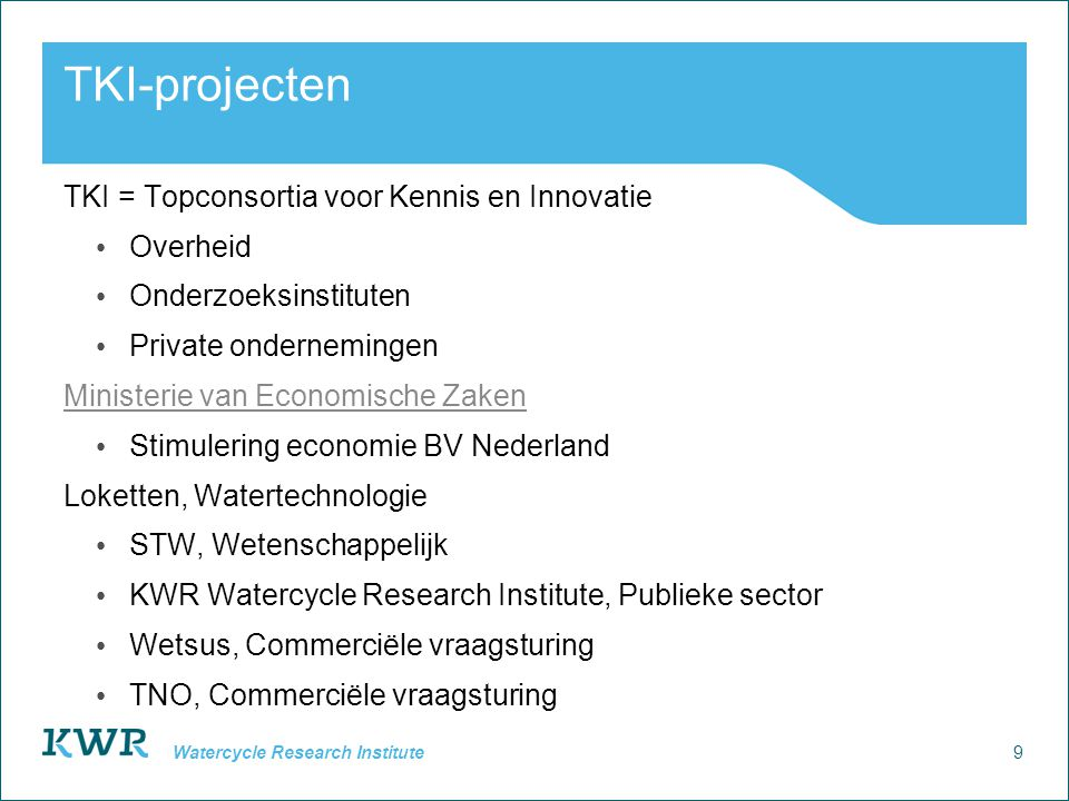 10 Watercycle Research Institute TKI-project Nutriëntsensoren voor afvalwater- en oppervlaktewatermonitoring Partners KWR Waterlaboratorium Noord Hoogheemraadschap Hollands Noorderkwartier Interline Benten Water Solutions Doel Ontwikkelen van een software tool om op basis van sensorsignalen algengroei te voorspellen.