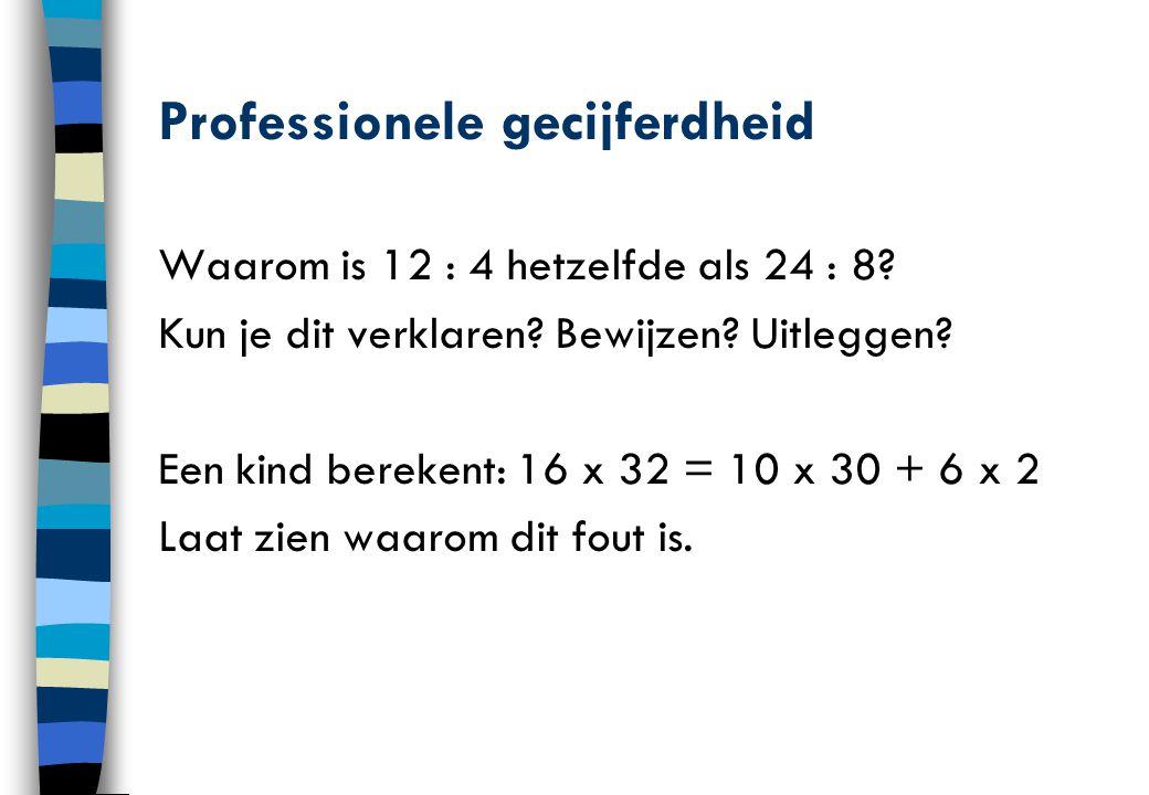 Professionele gecijferdheid Waarom is 12 : 4 hetzelfde als 24 : 8? Kun je dit verklaren? Bewijzen? Uitleggen? Een kind berekent: 16 x 32 = 10 x 30 + 6