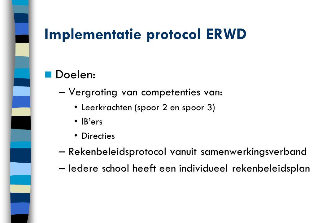 Implementatie protocol ERWD Doelen: –Vergroting van competenties van: Leerkrachten (spoor 2 en spoor 3) IB'ers Directies –Rekenbeleidsprotocol vanuit