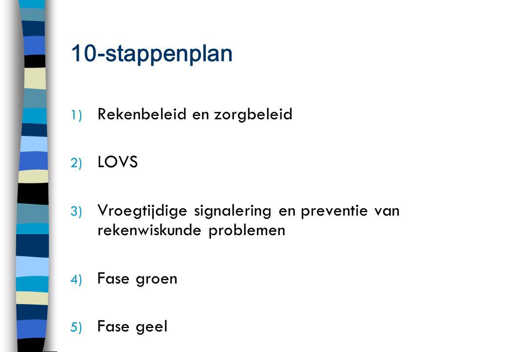 10-stappenplan 1) Rekenbeleid en zorgbeleid 2) LOVS 3) Vroegtijdige signalering en preventie van rekenwiskunde problemen 4) Fase groen 5) Fase geel