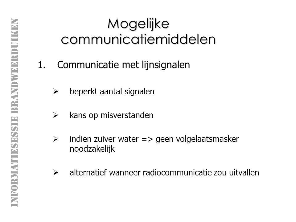 INFORMATIESESSIE BRANDWEERDUIKEN Mogelijke communicatiemiddelen 1.Communicatie met lijnsignalen  beperkt aantal signalen  kans op misverstanden  indien zuiver water => geen volgelaatsmasker noodzakelijk  alternatief wanneer radiocommunicatie zou uitvallen