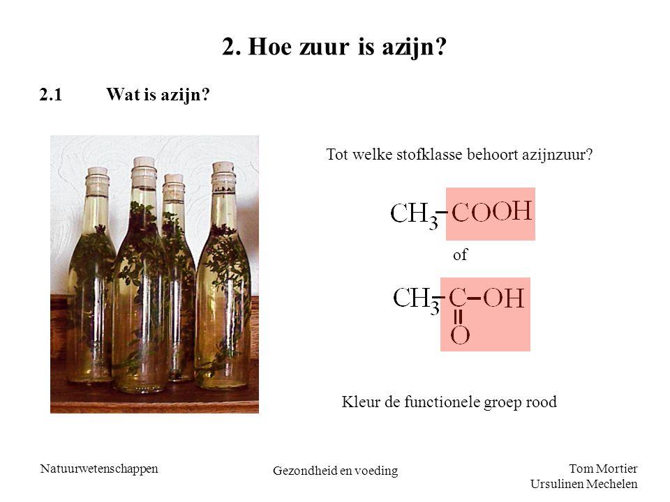 Tom Mortier Ursulinen Mechelen Natuurwetenschappen Gezondheid en voeding 2. Hoe zuur is azijn? 2.1Wat is azijn? Tot welke stofklasse behoort azijnzuur