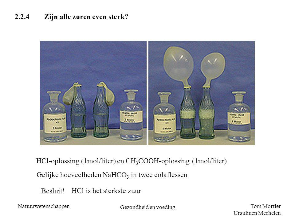 Tom Mortier Ursulinen Mechelen Natuurwetenschappen Gezondheid en voeding 2.2.4Zijn alle zuren even sterk? HCl-oplossing (1mol/liter) en CH 3 COOH-oplo