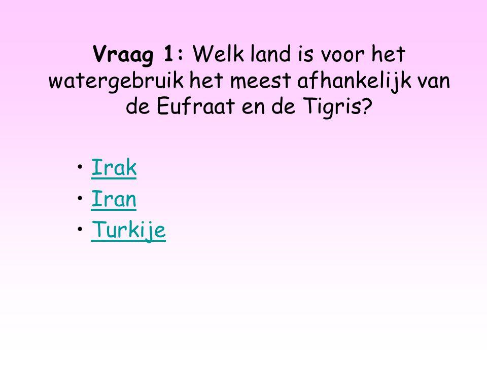 Vraag 1: Welk land is voor het watergebruik het meest afhankelijk van de Eufraat en de Tigris? Irak Iran Turkije