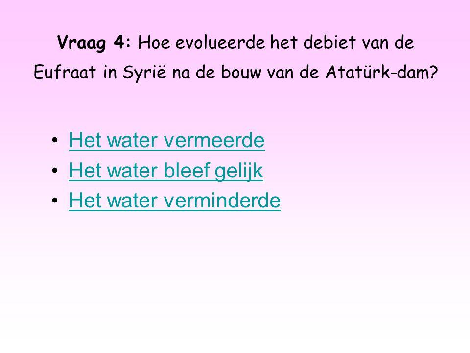 Vraag 4: Hoe evolueerde het debiet van de Eufraat in Syrië na de bouw van de Atatürk-dam? Het water vermeerde Het water bleef gelijk Het water vermind