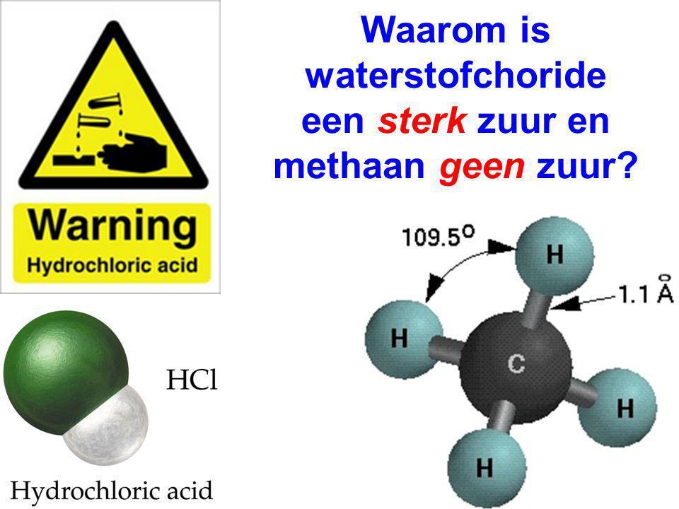 Waarom is waterstofchoride een sterk zuur en methaan geen zuur?