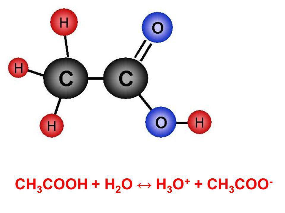 CH 3 COOH + H 2 O ↔ H 3 O + + CH 3 COO -