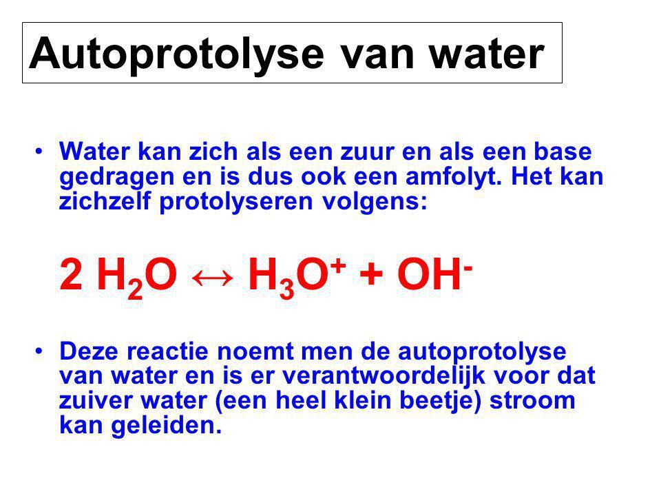 Water kan zich als een zuur en als een base gedragen en is dus ook een amfolyt.