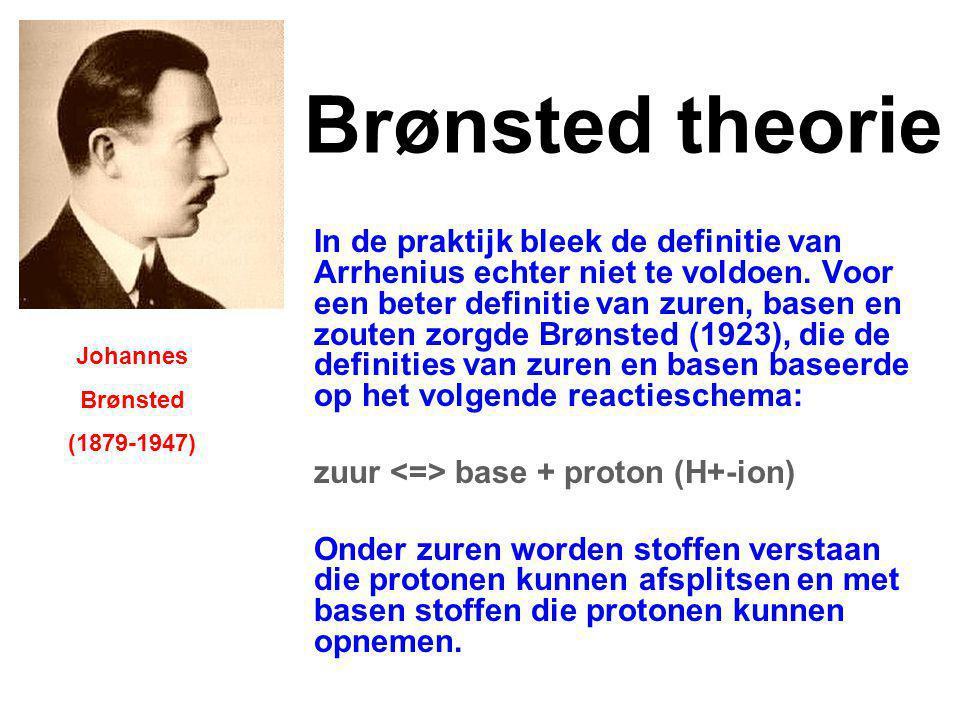 Uitbreiding Brønsted theorie Op de theorie van Bronsted is een uitbreiding gekomen.