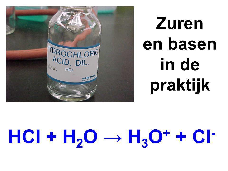 Zuren en basen in de praktijk HCl + H 2 O → H 3 O + + Cl -
