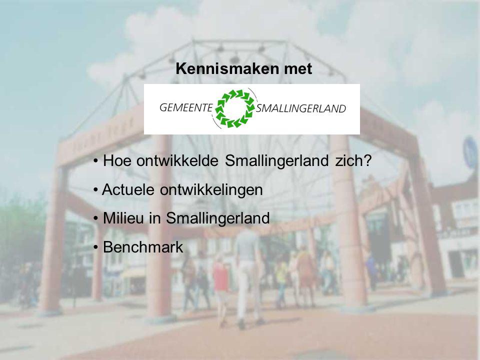 Kennismaken met Hoe ontwikkelde Smallingerland zich? Actuele ontwikkelingen Milieu in Smallingerland Benchmark
