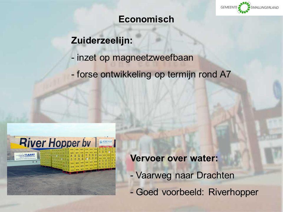 Zuiderzeelijn: - inzet op magneetzweefbaan - forse ontwikkeling op termijn rond A7 Economisch Vervoer over water: - Vaarweg naar Drachten - Goed voorbeeld: Riverhopper