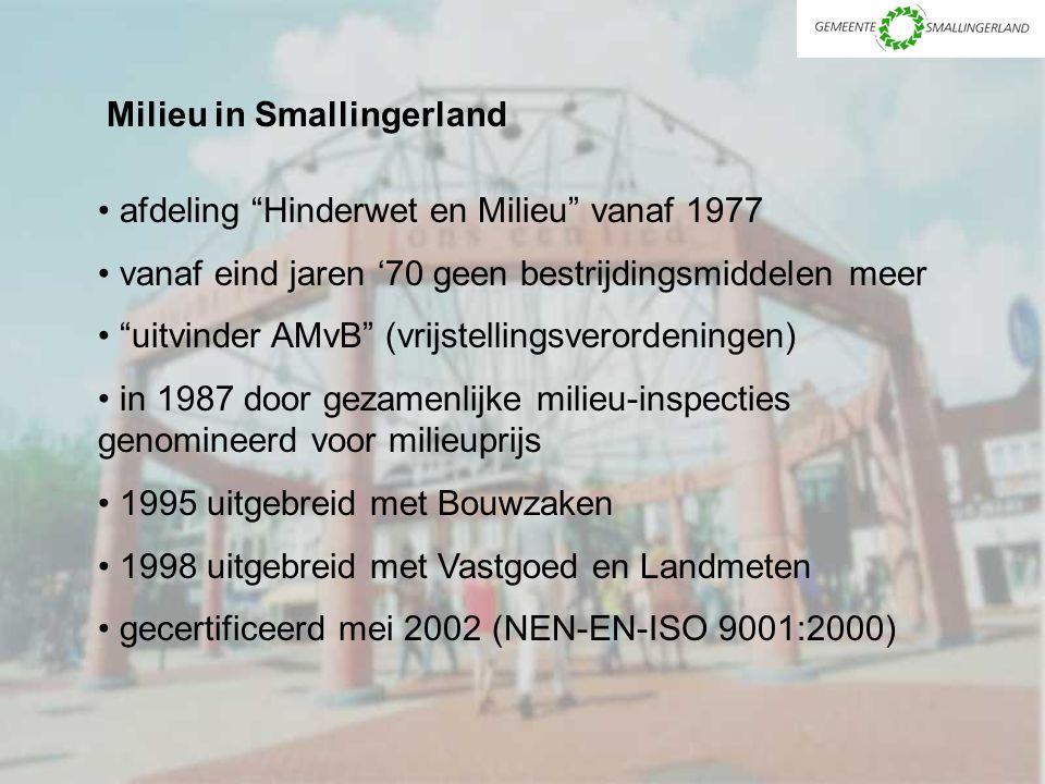 Milieu in Smallingerland afdeling Hinderwet en Milieu vanaf 1977 vanaf eind jaren '70 geen bestrijdingsmiddelen meer uitvinder AMvB (vrijstellingsverordeningen) in 1987 door gezamenlijke milieu-inspecties genomineerd voor milieuprijs 1995 uitgebreid met Bouwzaken 1998 uitgebreid met Vastgoed en Landmeten gecertificeerd mei 2002 (NEN-EN-ISO 9001:2000)