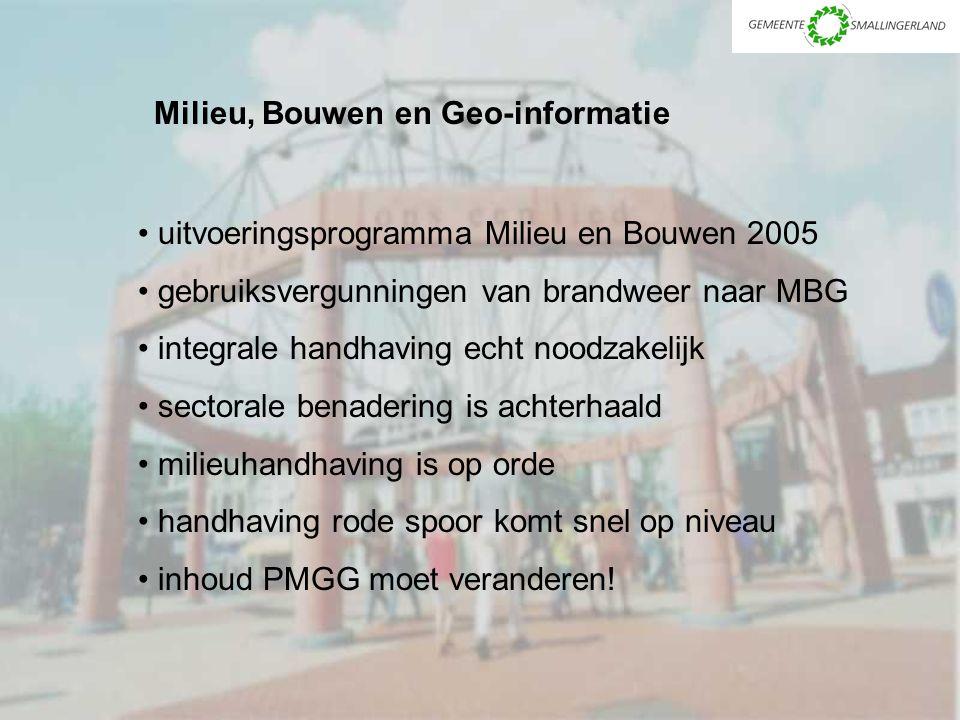 Milieu, Bouwen en Geo-informatie uitvoeringsprogramma Milieu en Bouwen 2005 gebruiksvergunningen van brandweer naar MBG integrale handhaving echt nood