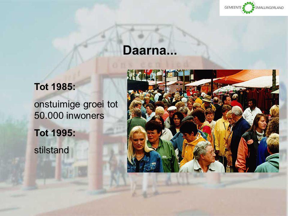 Daarna... Tot 1985: onstuimige groei tot 50.000 inwoners Tot 1995: stilstand