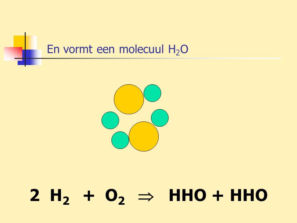 En vormt een molecuul H 2 O 2 H 2 + O 2  HHO + HHO