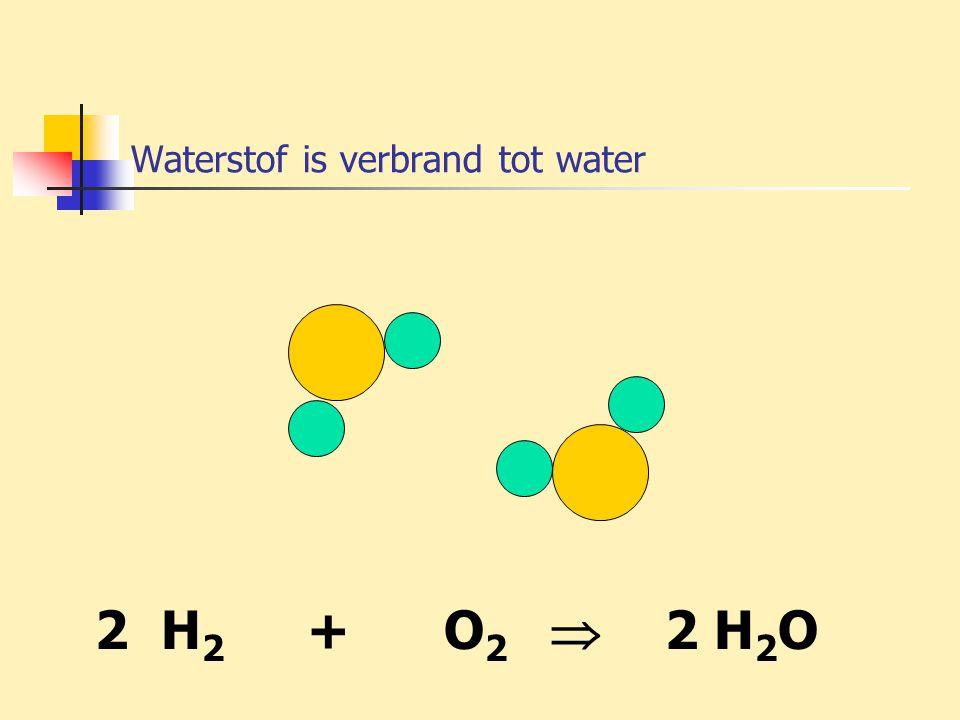 Waterstof is verbrand tot water 2 H 2 + O 2  2 H 2 O