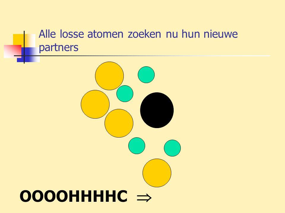 Alle losse atomen zoeken nu hun nieuwe partners OOOOHHHHC 