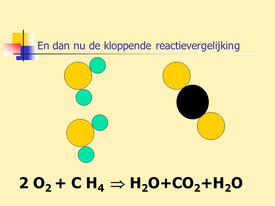 En dan nu de kloppende reactievergelijking 2 O 2 + C H 4  H 2 O+CO 2 +H 2 O