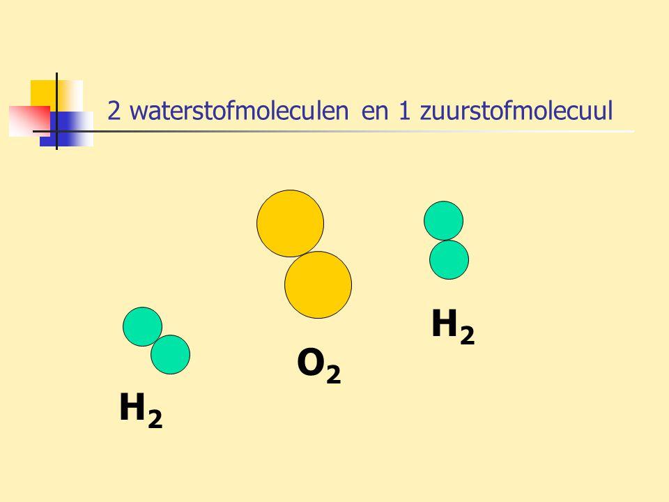 2 waterstofmoleculen en 1 zuurstofmolecuul H2H2 O2O2 H2H2