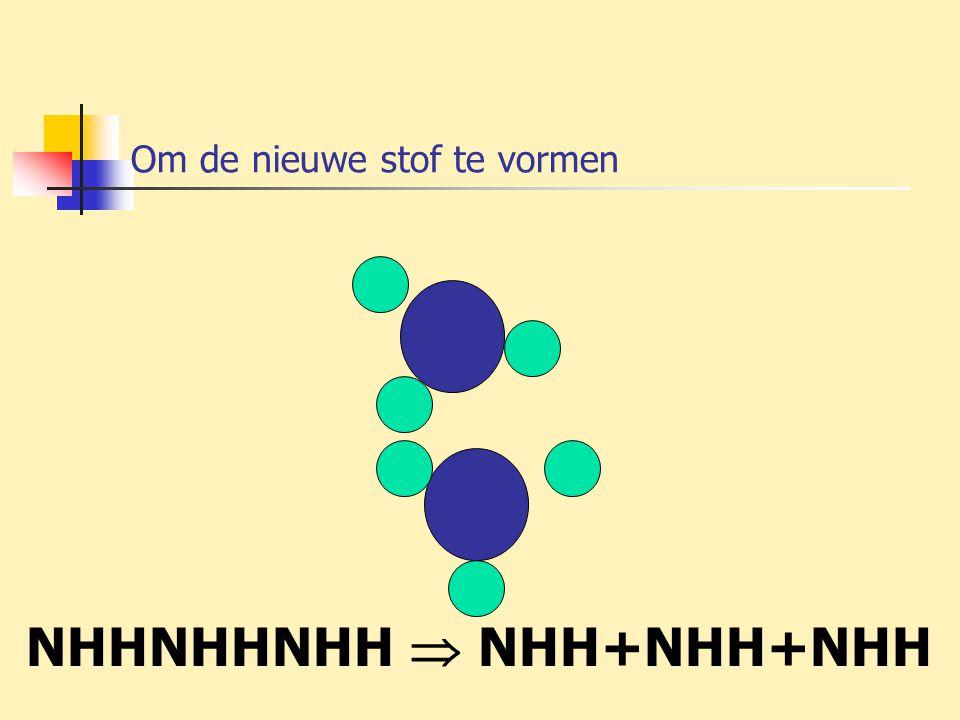 Om de nieuwe stof te vormen NHHNHHNHH  NHH+NHH+NHH