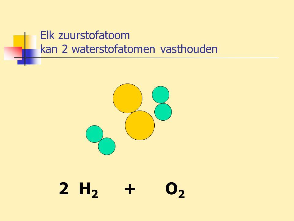 Elk zuurstofatoom kan 2 waterstofatomen vasthouden 2 H 2 + O 2