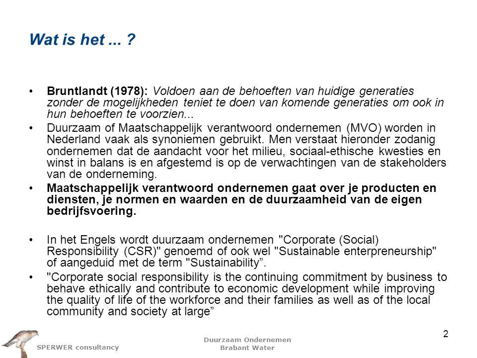 Duurzaam Ondernemen Brabant Water SPERWER consultancy Wat is het...