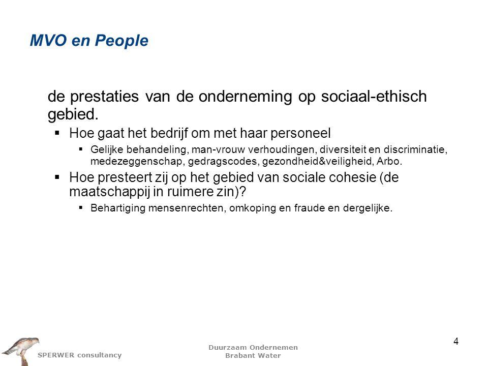 Duurzaam Ondernemen Brabant Water SPERWER consultancy MVO en People de prestaties van de onderneming op sociaal-ethisch gebied.