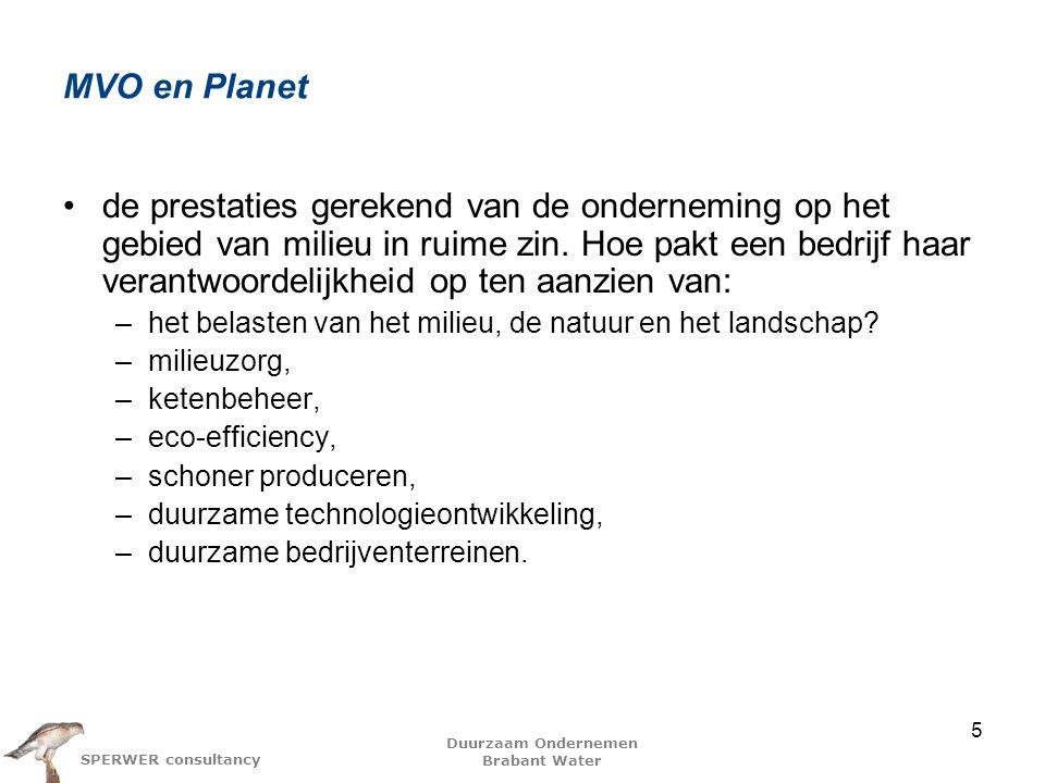 Duurzaam Ondernemen Brabant Water SPERWER consultancy MVO en Planet de prestaties gerekend van de onderneming op het gebied van milieu in ruime zin.