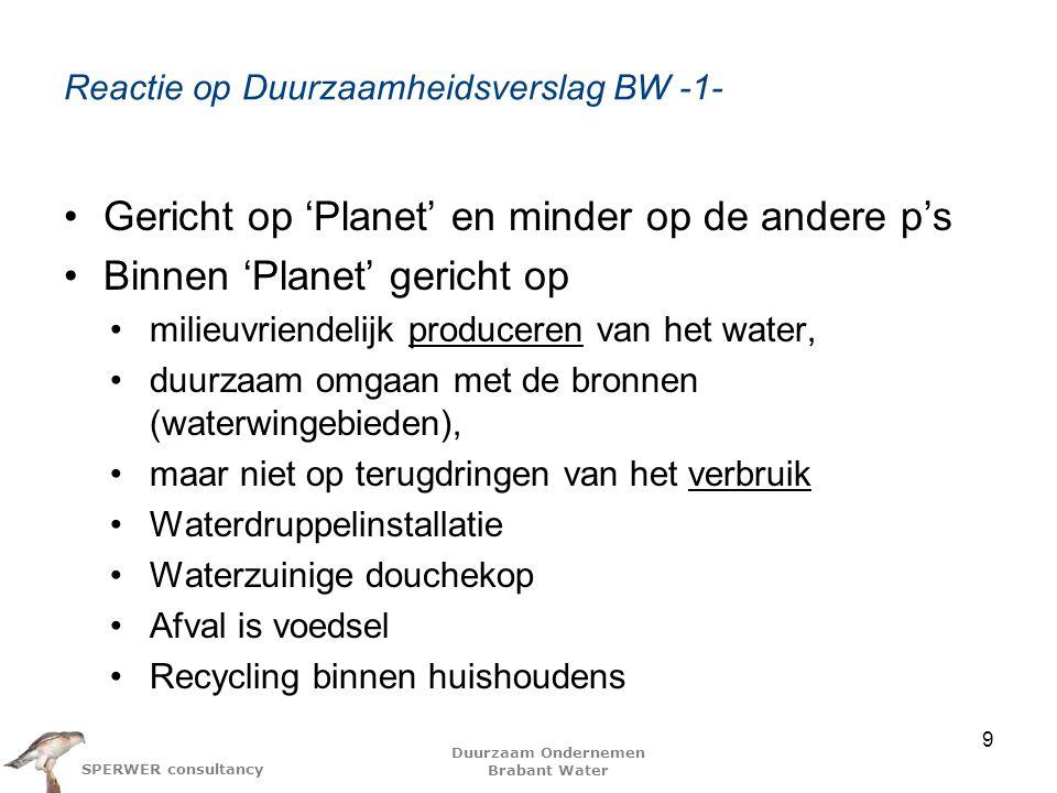 Duurzaam Ondernemen Brabant Water SPERWER consultancy Reactie op Duurzaamheidsverslag BW -2- Wat is de diepere, onderliggende visie Wie zijn de stakeholders Wie heeft het geschreven Hoe ervoor te zorgen dat het ingebed wordt in de organisatie –Wie (zouden) er van op de hoogte binnen de organisatie (moeten) zijn 10