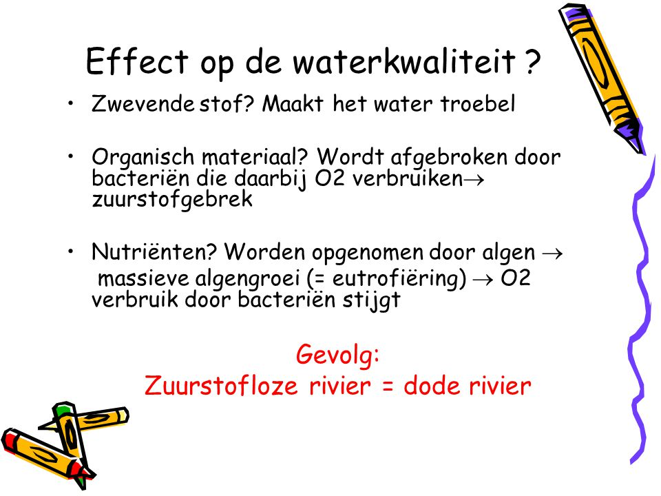 Via een titratie (Winkler titratie) WINKLER flesje + MnSO 4 4 Mn(OH) 2 + O 2 4 MnO(OH)+ 2 H 2 O + KI/NaOH + H 2 SO 4 4 MnO(OH) + 4 I - + 12 H + 4 Mn 2+ + 2 I 2 + 8 H 2 O Hoeveelheid I 2 = 2 * O 2 Stap 1
