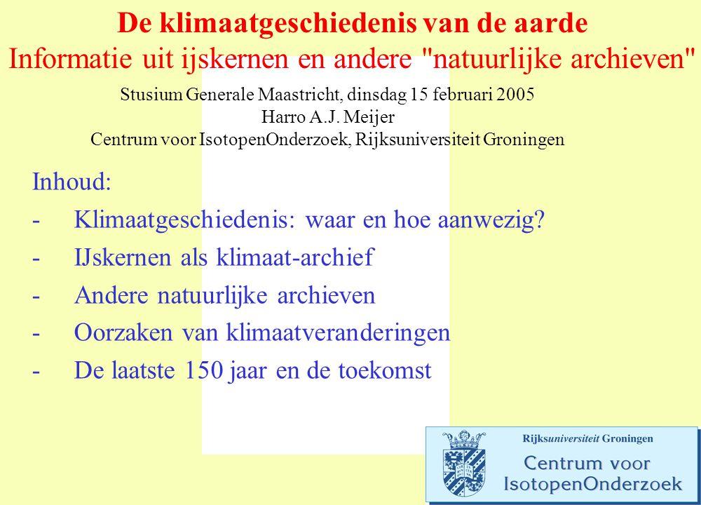 De klimaatgeschiedenis van de aarde Informatie uit ijskernen en andere natuurlijke archieven Stusium Generale Maastricht, dinsdag 15 februari 2005 Harro A.J.