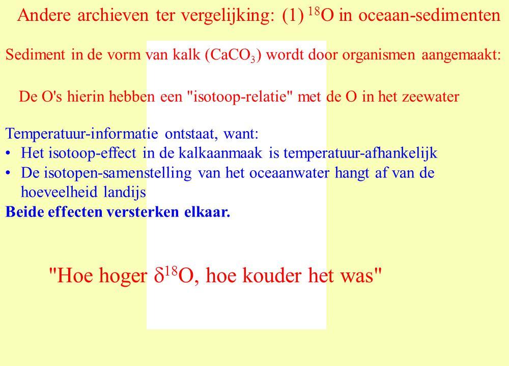 Andere archieven ter vergelijking: (1) 18 O in oceaan-sedimenten Sediment in de vorm van kalk (CaCO 3 ) wordt door organismen aangemaakt: De O s hierin hebben een isotoop-relatie met de O in het zeewater Temperatuur-informatie ontstaat, want: Het isotoop-effect in de kalkaanmaak is temperatuur-afhankelijk De isotopen-samenstelling van het oceaanwater hangt af van de hoeveelheid landijs Beide effecten versterken elkaar.