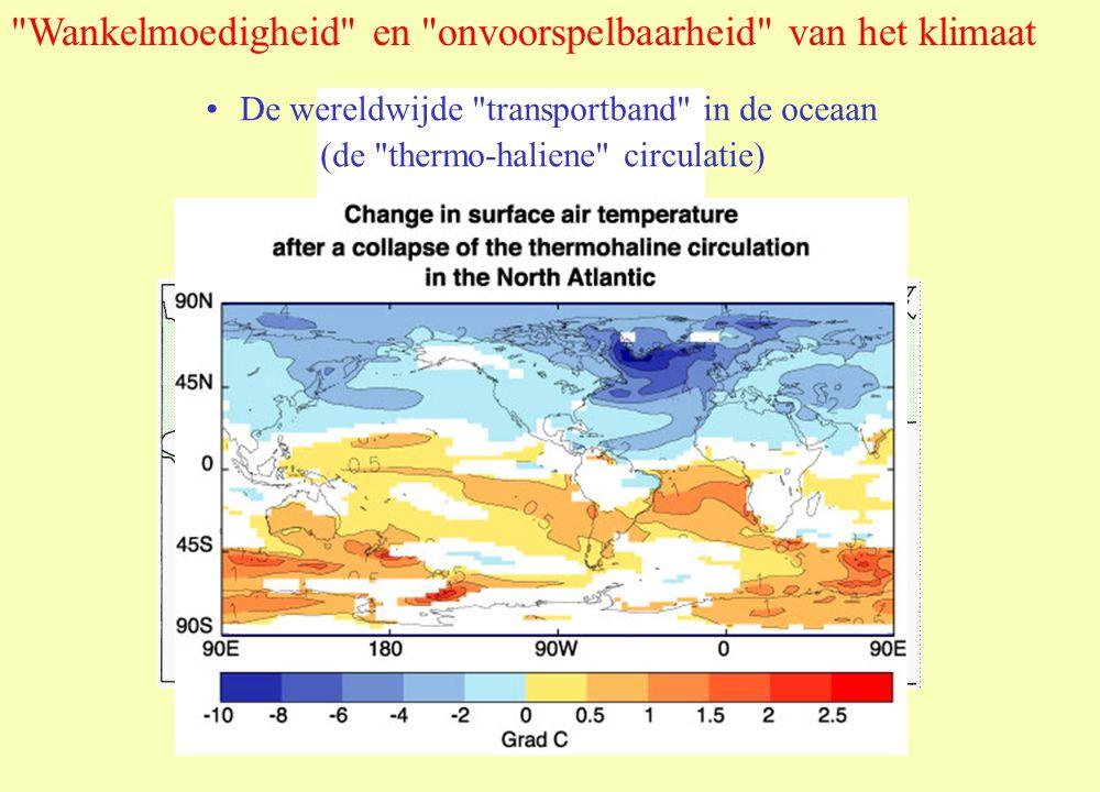 De wereldwijde transportband in de oceaan (de thermo-haliene circulatie) Wankelmoedigheid en onvoorspelbaarheid van het klimaat