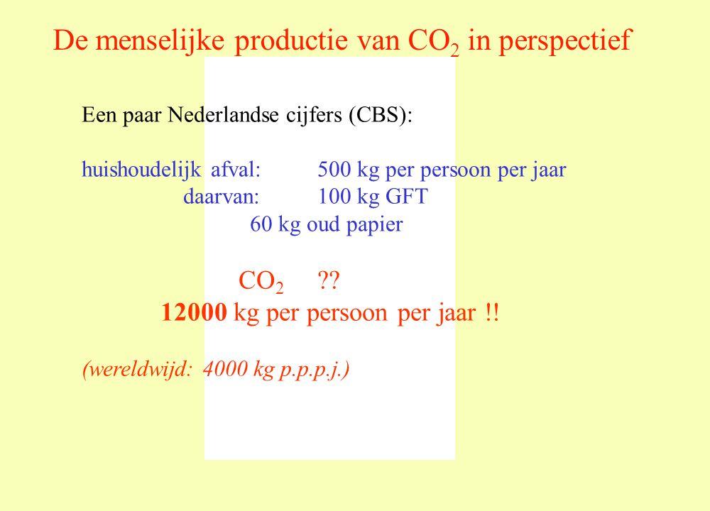 De menselijke productie van CO 2 in perspectief Een paar Nederlandse cijfers (CBS): huishoudelijk afval: 500 kg per persoon per jaar daarvan:100 kg GFT 60 kg oud papier CO 2 ?.