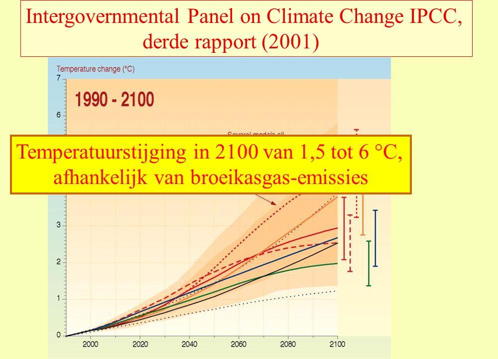 Intergovernmental Panel on Climate Change IPCC, derde rapport (2001) Temperatuurstijging in 2100 van 1,5 tot 6 °C, afhankelijk van broeikasgas-emissies