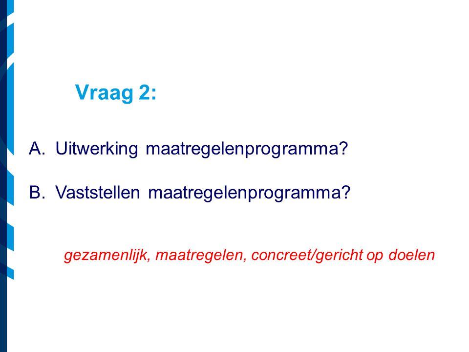Vraag 2: A.Uitwerking maatregelenprogramma? B.Vaststellen maatregelenprogramma? gezamenlijk, maatregelen, concreet/gericht op doelen