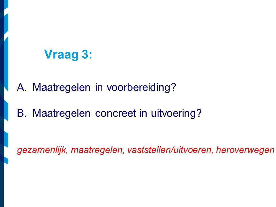 Vraag 3: A.Maatregelen in voorbereiding? B.Maatregelen concreet in uitvoering? gezamenlijk, maatregelen, vaststellen/uitvoeren, heroverwegen