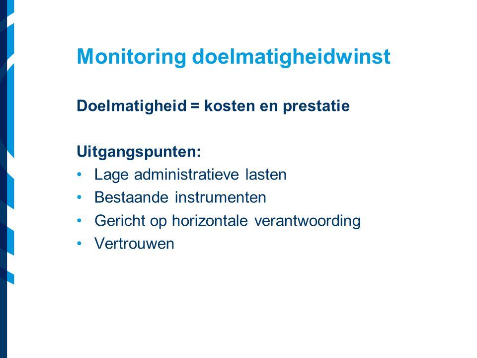 Monitoring doelmatigheidwinst Doelmatigheid = kosten en prestatie Uitgangspunten: Lage administratieve lasten Bestaande instrumenten Gericht op horizo
